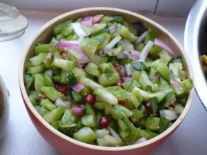 Adrienne's tomatillo, heirloom tomatoe with pomegranate salsa